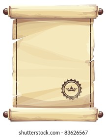 Grungy parchment background with crown emblem.