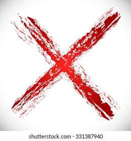 "Grungy red cross, ""X"" shape"