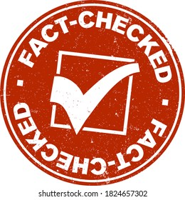 grungy red round FACT-CHECKED label or rubber stamp with checkmark vector illustration