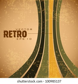 Grungy retro background in brown, yellow and green color and copy space for your text. EPS 10. Vector illustration.