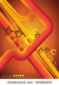 Grungy retro background in light brown color and yellow and red stripes with stars. EPS 10. Vector illustration.