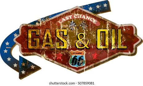 grungy retro route sixty six gas station sign, vector illustration