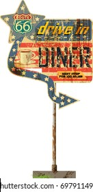 grungy retro route sixty six diner sign, vintage advertising signage vector illustration..Sign and post grouped for better handling.