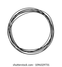 Grungy round scribble circle hand drawn with thin line, divider shape. Vector illustration