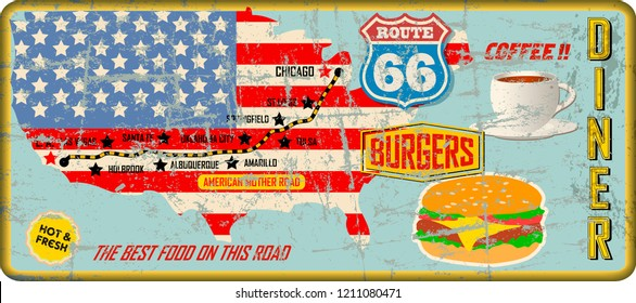 grungy route 66 diner tin sign w. road map, retro grungy illustration, fictional vector artwork