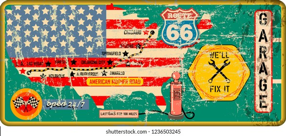 grungy route sixty six garage sign and road map,retro grungy vector illustration