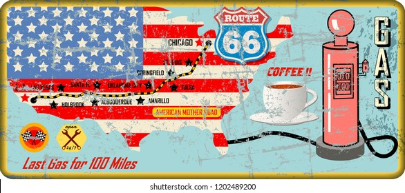 grungy route sixty six gas station sign and road map,retro grungy vector illustration