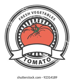 Grungy rubber stamp with Tomato shape and the words Tomato, Fresh Vegetables written inside the stamp, vector illustration