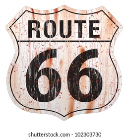 Grungy and rusted route sixty six icon on white background