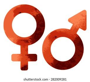 Grungy sex symbols isolated on white background