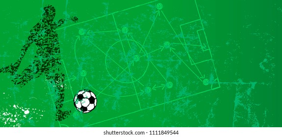 Grungy soccer or football illustration with soccer striker, free copy space.