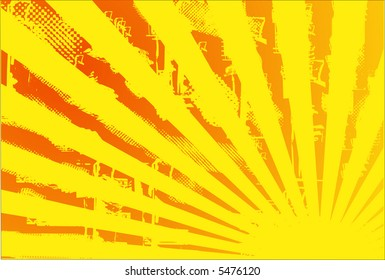 Grungy sunburst vector