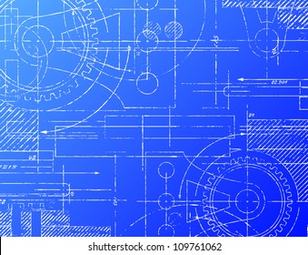 Sketch blueprint images stock photos vectors shutterstock grungy technical blueprint vector illustration on blue background malvernweather Choice Image