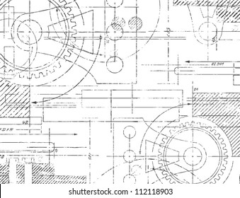 Grungy technical drawing vector illustration of gears and engineering parts