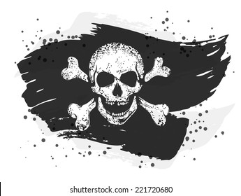Grungy torn jolly roger flag with a skull and crossed bones. EPS10 vector monochrome illustration. Hand drawn image.