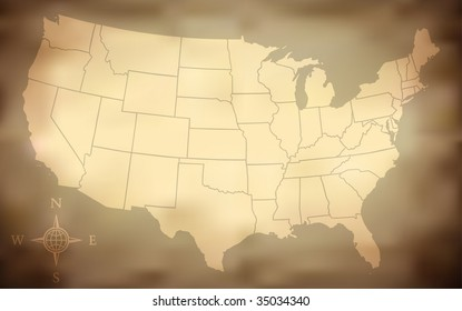 Grungy USA Map (Vector )