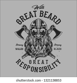 grungy viking beard face wearing helmet typography t shirt design hand drawing vector illustration