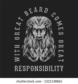 grungy viking beard face wearing helmet typography t shirt design hand drawing vector illustration