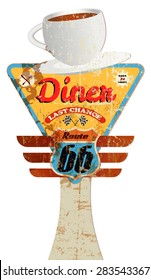 grungy vintage diner sign, route  advertising display