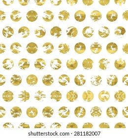 Grungy white and gold  pattern. Abstract geometric modern  polka dot background. Vector illustration.Shiny backdrop. Texture of gold foil.