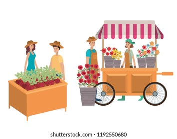 grup of people in kiosk with plant avatar character