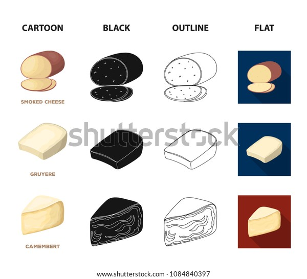 Gruyere, camembert, mascarpone, gorgonzola.Different types of cheese set collection icons in cartoon,black,outline,flat style vector symbol stock illustration web.