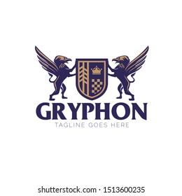 Gryphon crest logo. emblem style vector