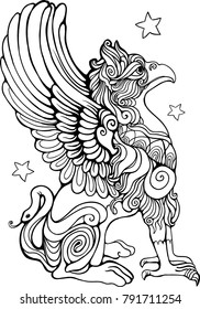 Gryphon isolated coloring book page vector illustration