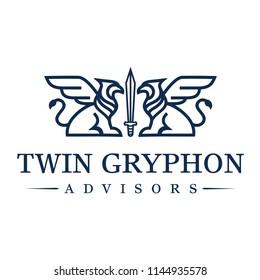 Gryphon Line art Logo Design Inspiration Vector