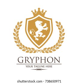 Gryphon Lion Royal Logo Crest Vector Logo Template Used for hotel, restaurant, boutique, jewellery invitation, business card etc.