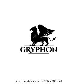 Gryphon logo simple black vintage badge ancient legend heraldic winged animal vector graphic design template idea