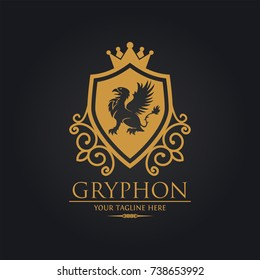 Gryphon Shield Royal Logo Used for hotel, restaurant, boutique, jewellery invitation, business card etc.