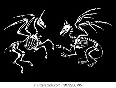 A gryphon skeleton and skeleton of a pegasus with horn. Great for printing on T-shirts, for tattoos and more. Ideal for decoration of Halloween and the Day of the Dead.