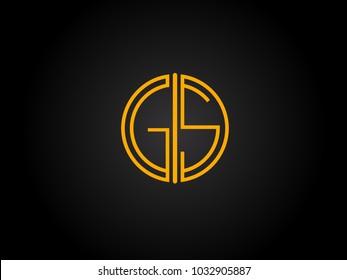 GS Circle Shape golden yellow Letter logo Design
