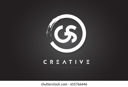 GS Circular Letter Logo with Circle Brush Design and Black Background.