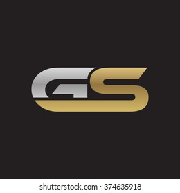 GS company linked letter logo golden silver black background