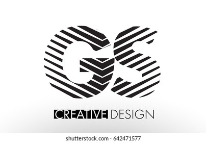 GS G S Lines Letter Design with Creative Elegant Zebra Vector Illustration.