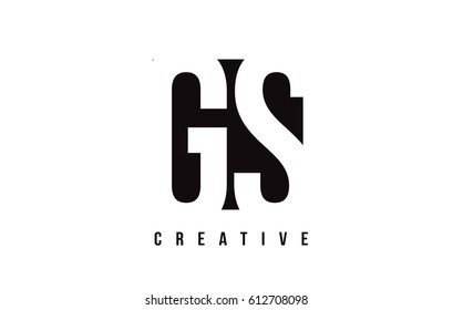 GS G S White Letter Logo Design with Black Square Vector Illustration Template.
