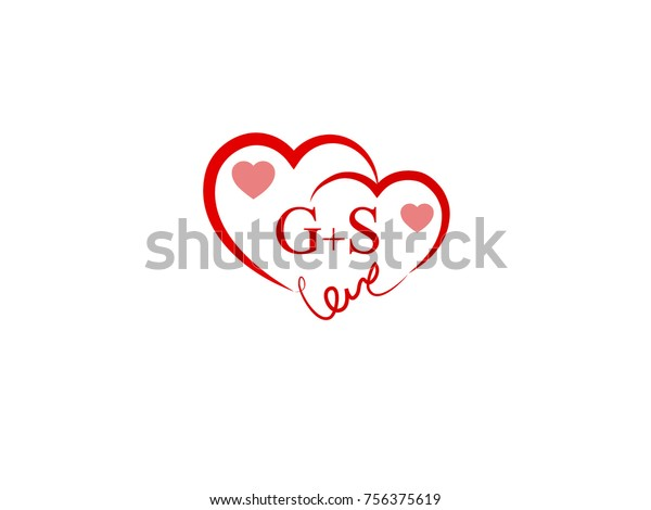 Gs Heart Initial Wedding Invitation Love Stock Vector Royalty