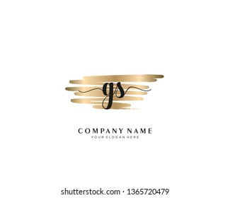 GS initial handwriting logo with brush gold color template vector