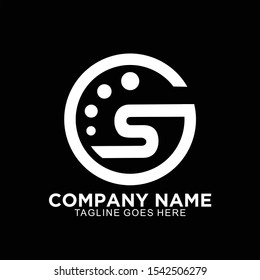 GS initial logo in circle simple and clean design