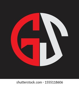 GS Initial Logo design Monogram Isolated on black background