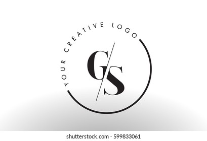 GS Letter Logo Design with Creative Intersected and Cutted Serif Font.