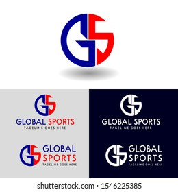 GS logo design in circle. vector logo monogram with a combination of blue and red for your company.