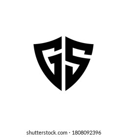 GS monogram logo with shield shape design template isolated on white background