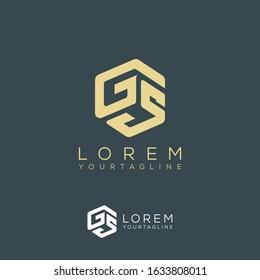 GS SG G G5  triple cubic alphabet letter vector geometric font icon & Logo for your design.