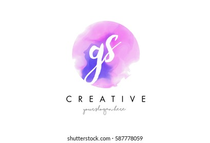 GS Watercolor Letter Logo Design with Purple Rounded Aquarelle Brush Stroke.