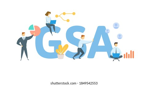 GSA, General Sales Agent. Concept with keywords, people and icons. Flat vector illustration. Isolated on white background.