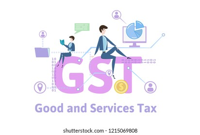 GST, Goods and Services Tax. Concept with keywords, letters and icons. Colored flat vector illustration on white background.