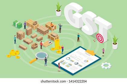 gst goods services tax concept with team people and finance graph chart with modern isometric style - vector